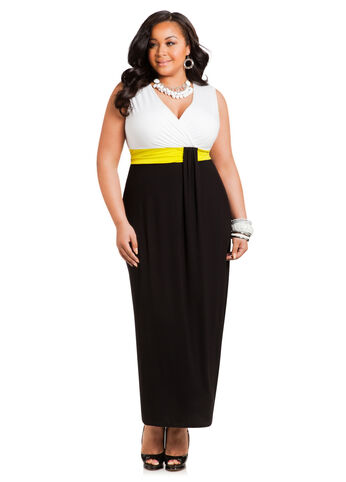 Plus Size Maxi Dress -  Tri-Color Wrap Top Maxi Dress