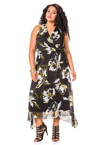 Floral Print Hanky Hem Maxi Dress
