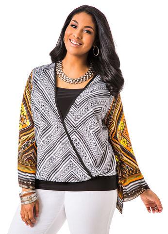 Kimono Sleeve Tribal Print Blouse