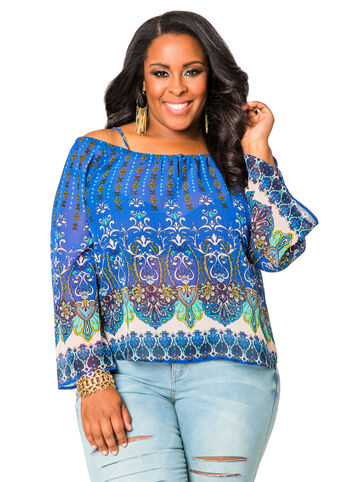Sheer Printed Cold Shoulder Peasant Top