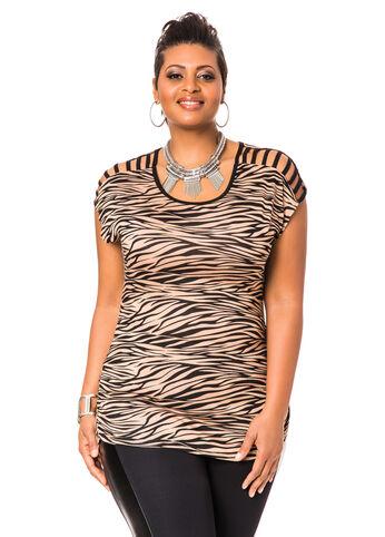 Lattice Sleeve Animal Print Shirt