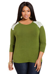 Crotched Shoulder Plus Size Sweater