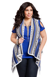Aztec Cold Shoulder  Plus Size Top