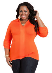 Burnt Orange Hi Low Ashley Stewart Plus Size Top