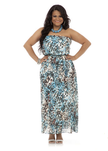 Animal Print Maxi Tube Dress