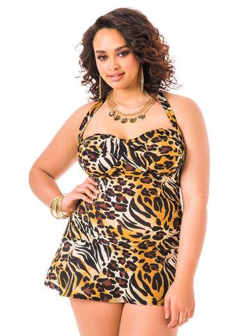 Animal Print Halter Swim Dress