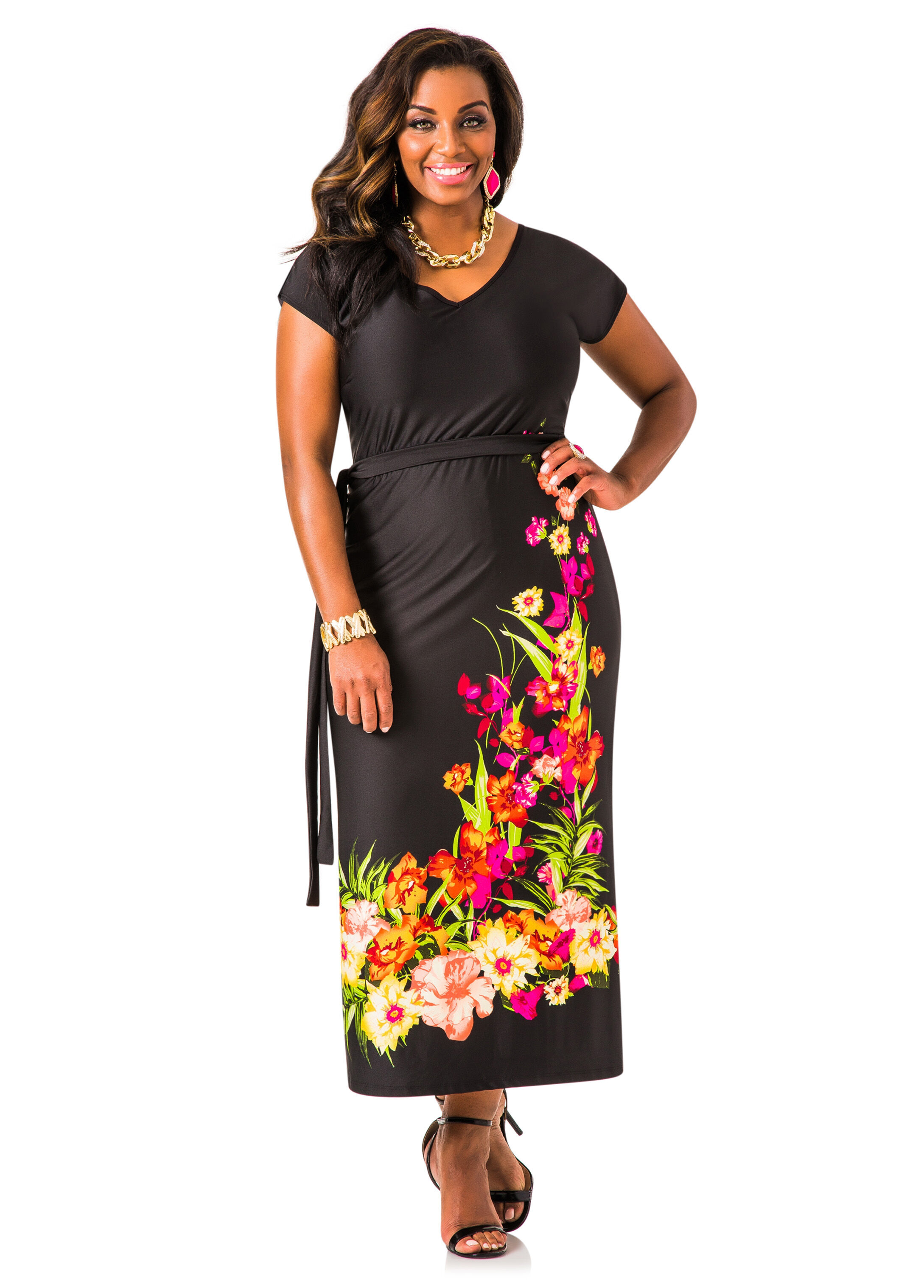 Online Dress Shopping Sites Ashley Stewart Womens Plus Size Belted Floral Maxi Dress