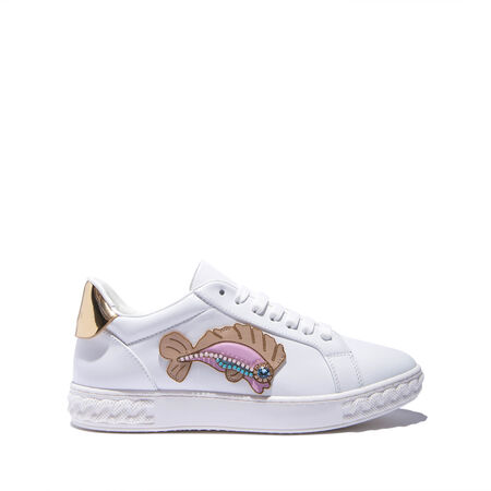 fish appliqué sneakers