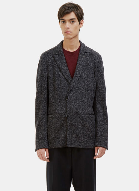 Double-Breasted Jacquard Blazer Jacket