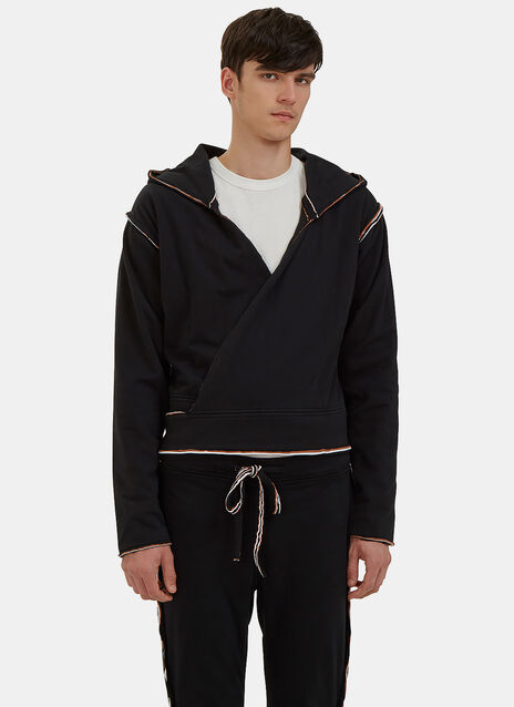 Raw Layered Hooded Wrap Jacket