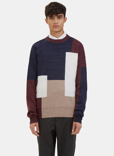 Mohair Block Panelled Crew Neck Sweater