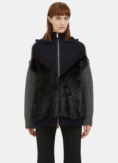 Faux Fur Knit Zip-Up Sweater