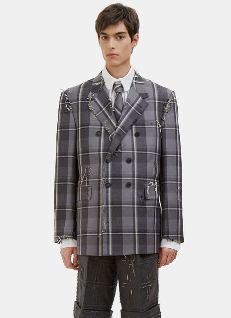 Distressed Winter Madras Checked Blazer Jacket