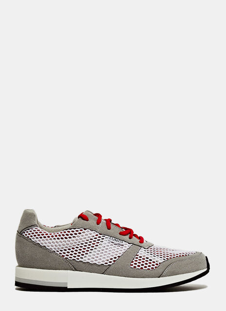 LUNGE TRAINER CLASSIC RUN IN WHITE AND RED NET WITH GREY DETAILS