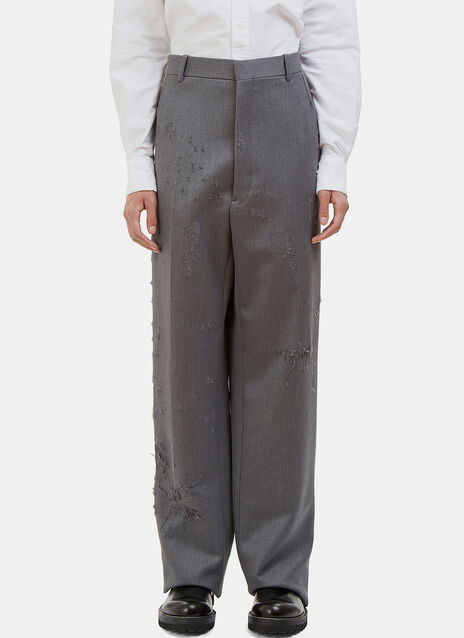 Distressed Wide Leg Calvary Twill Pants