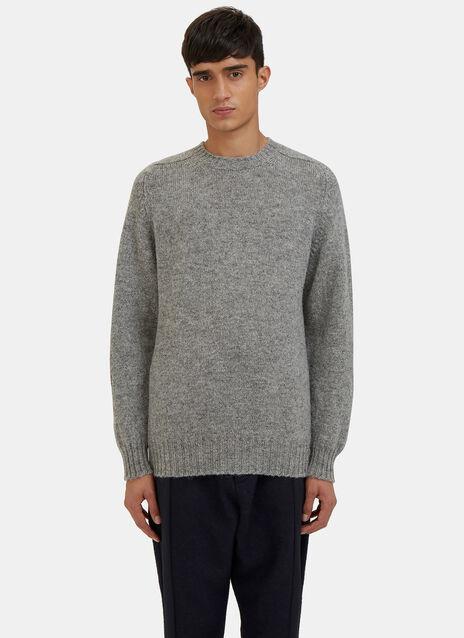 Shetland Wool Crew Neck Knit Sweater