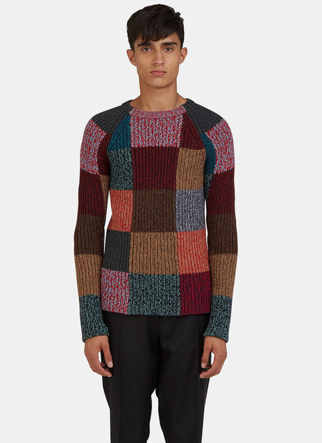 Patchwork Knit Crew Neck Sweater