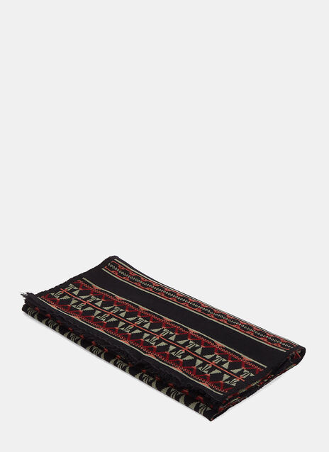 Tribal Jacquard Fringed Wool Scarf