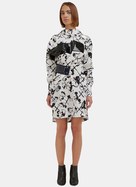 Face Print Sequin Shirt Dress