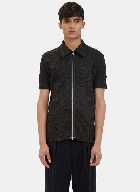 Flecked Zip-Up Polo Shirt