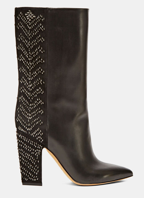 Long Sequin Embroidered Boots