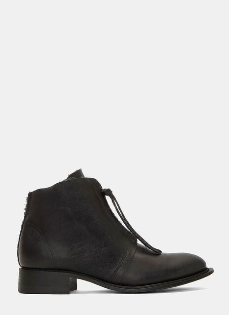 Lou Wax Zip-Up Leather Boots