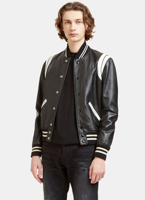 Leather Teddy Bomber Jacket