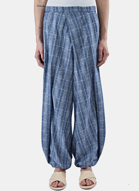 Plaid Wide Pleated Balloon Pants