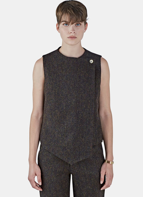 Tweed Asymmetric Wrap Waistcoat Top