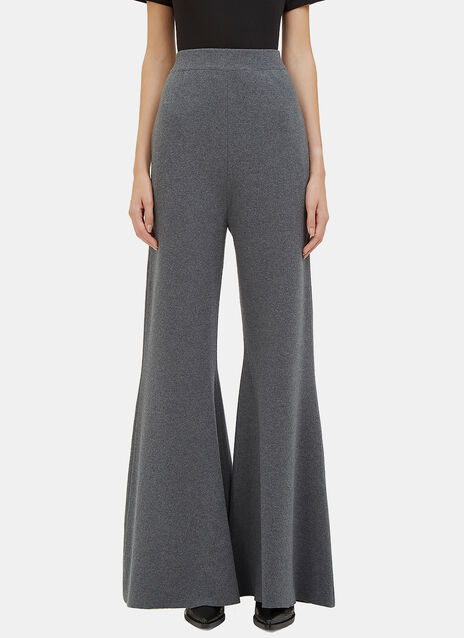 Wide Leg Flared Knit Pants
