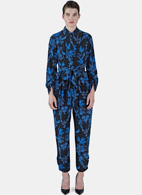 Floral Print Silk Jumpsuit