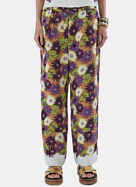 Silk Georgette Jacquard Pants