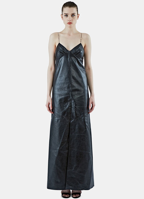 Long Leather Slip Dress