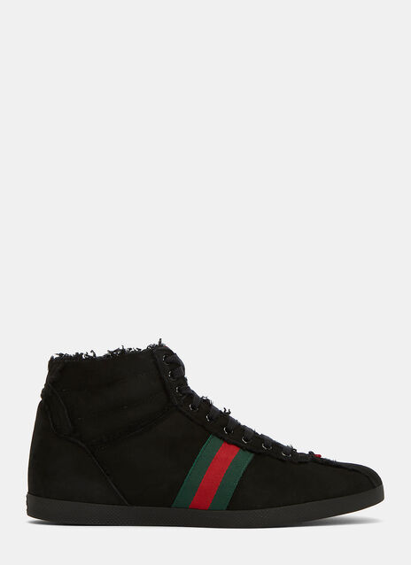 Shearling High-Top Suede Sneakers