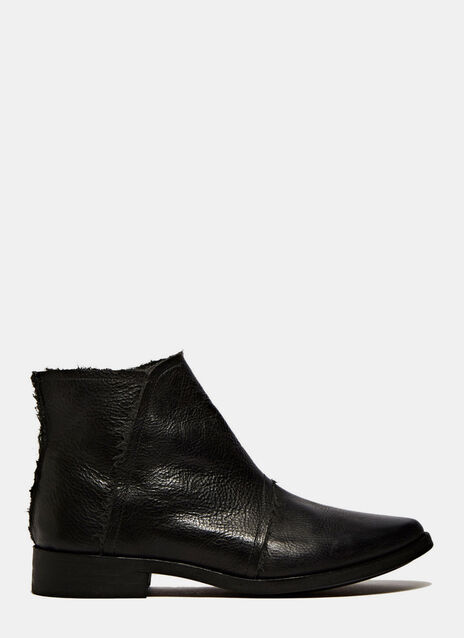 PETRUCHA STUDIO BLACK VEGAN BOOTS ZIPPER INNER SIDE