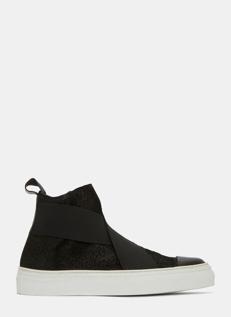Bubble Treated Leather High-Top Sneakers