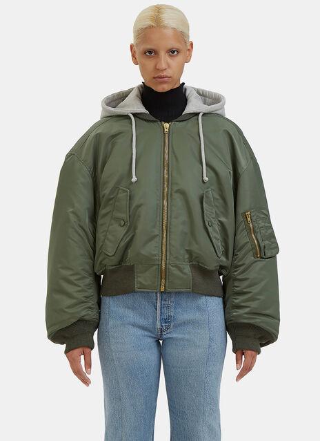 Oversized Cropped Bomber Jacket
