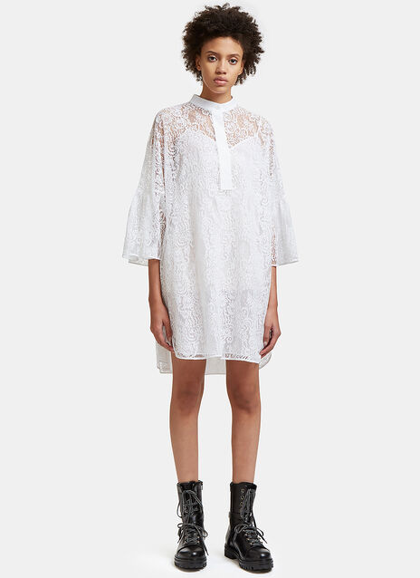 Flared Sleeve Lace Mini Dress