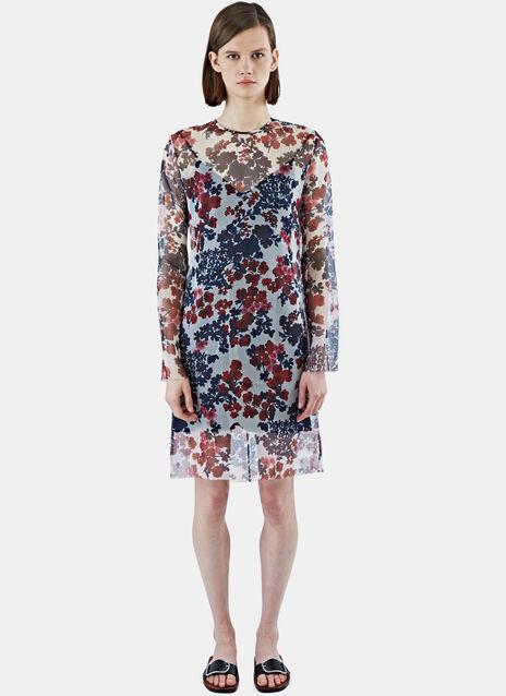 Sheer Floral Organza Mid-Length Dress