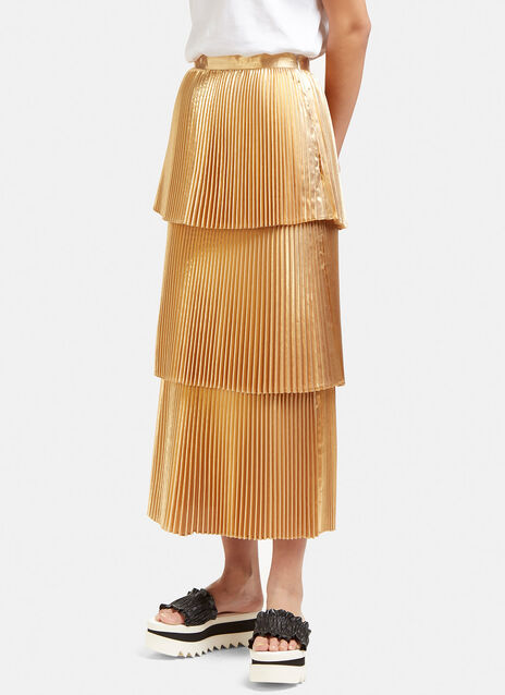 Metallic Tiered Pleat Skirt
