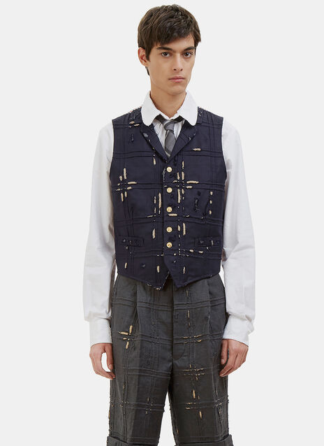 Distressed Piped Check Waistcoat