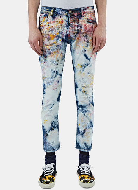 Slim Tie-Dye Painted Jeans