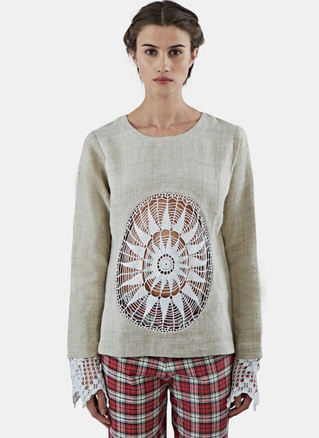 Crochet Lace Mine Linen Top