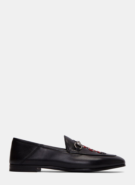 Snake Embroidered Horsebit Loafers