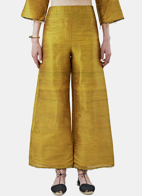 Metallic Silk Cropped Wide Leg Pants