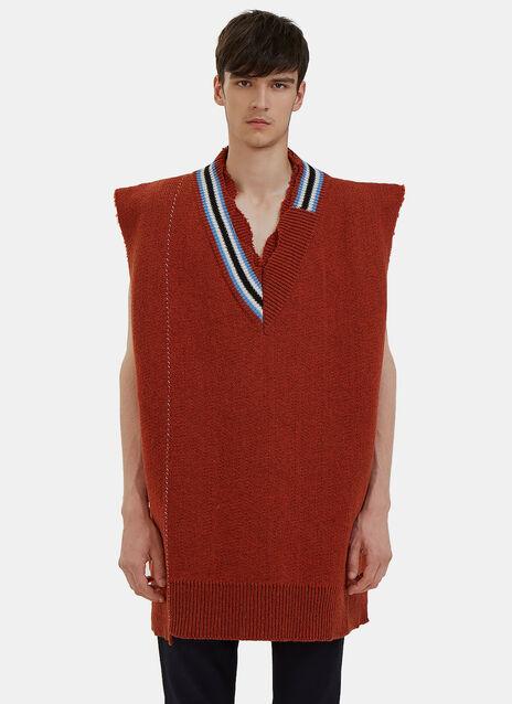 Oversized Destroyed Varsity Sweater Vest