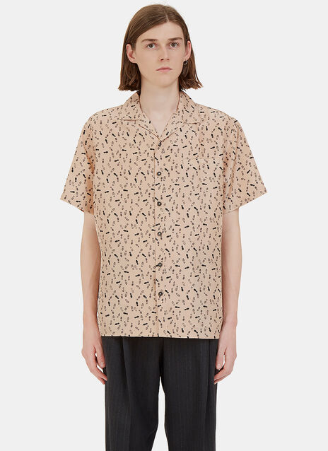 Footprint Printed Bowling Shirt