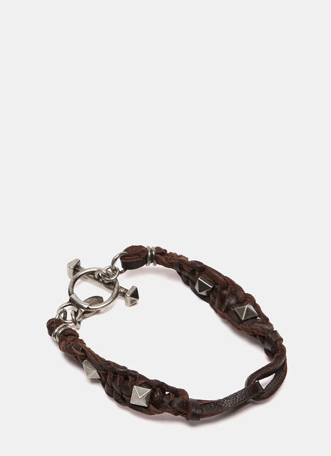 Pyramid Studded Leather Bracelet