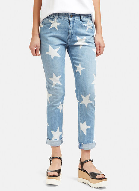 Star Print Slim Leg Jeans