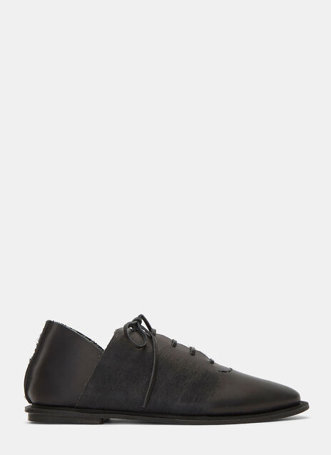 Wax Lace-Up Leather Shoes